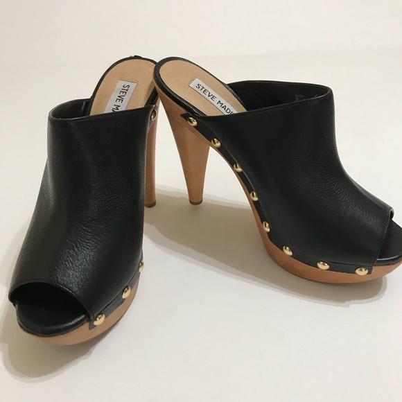 f2f82f378f2 Steve Madden Shoes - Steve Madden Daynty Black Leather Peep Toe Size 8